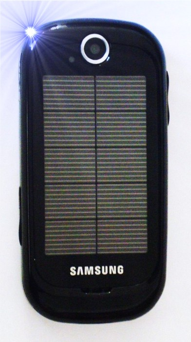 Solar powered cell phone